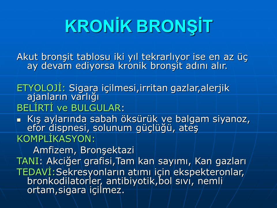KRONİK BRONŞİT Akut bronşit tablosu iki yıl tekrarlıyor ise en az üç ay devam ediyorsa kronik bronşit adını alır.
