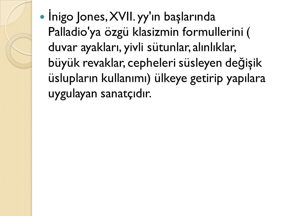İnigo Jones, XVII.