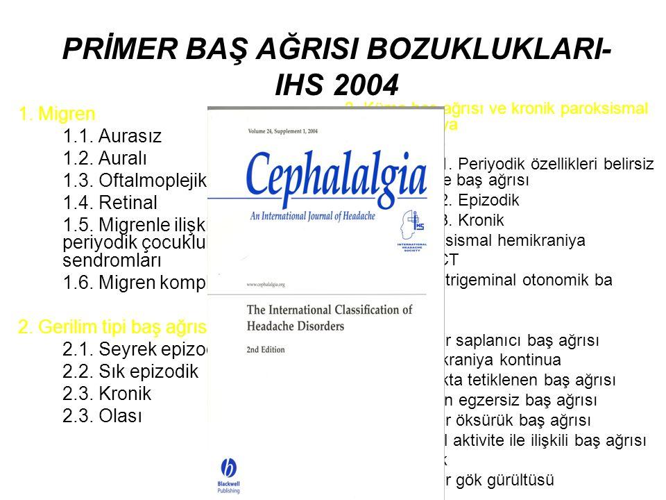 PRİMER BAŞ AĞRISI BOZUKLUKLARI-IHS 2004