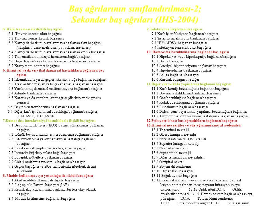 Baş ağrılarının sınıflandırılması-2; Sekonder baş ağrıları (IHS-2004)