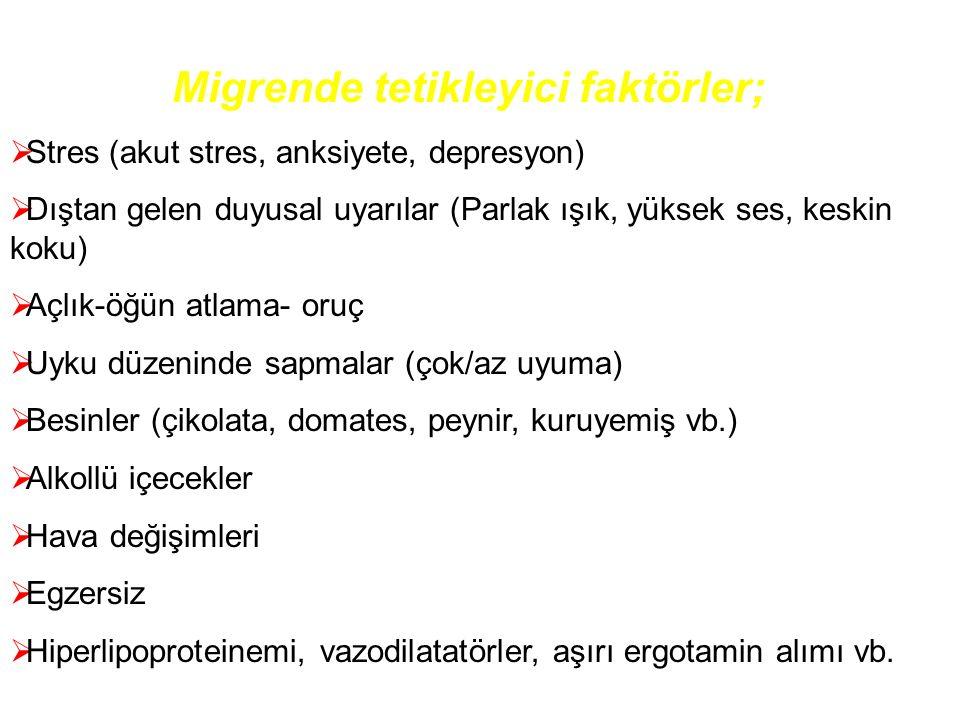Migrende tetikleyici faktörler;