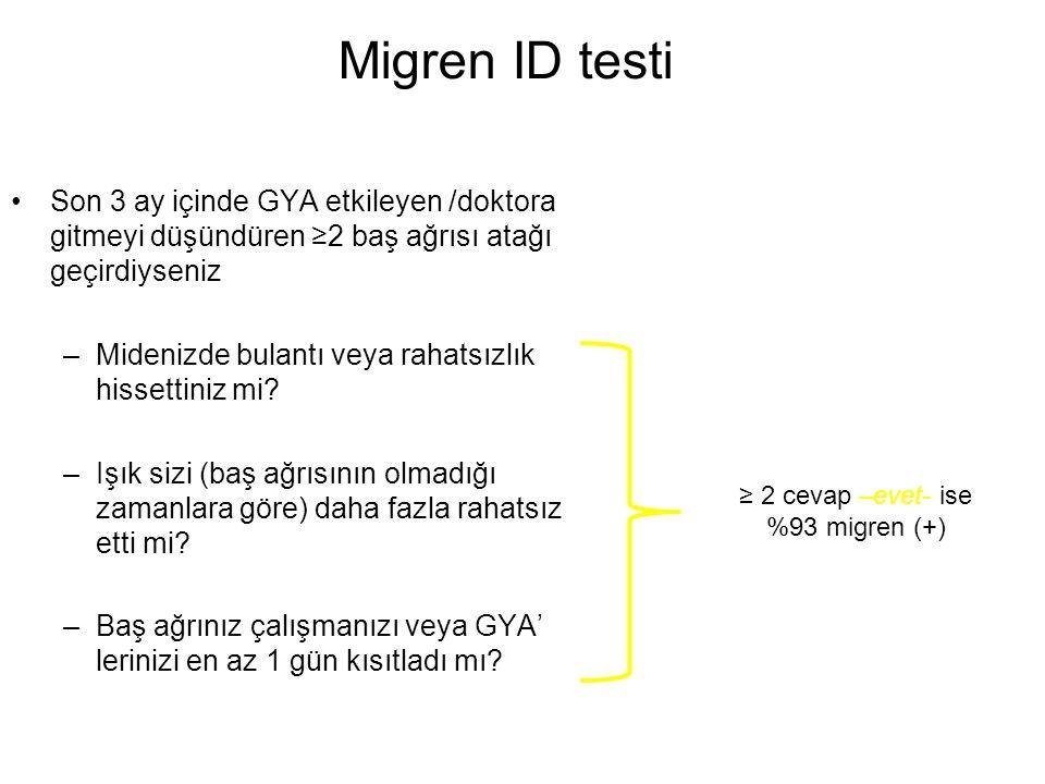 Migren ID testi Son 3 ay içinde GYA etkileyen /doktora gitmeyi düşündüren ≥2 baş ağrısı atağı geçirdiyseniz.