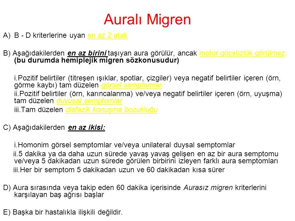 Auralı Migren B - D kriterlerine uyan en az 2 atak