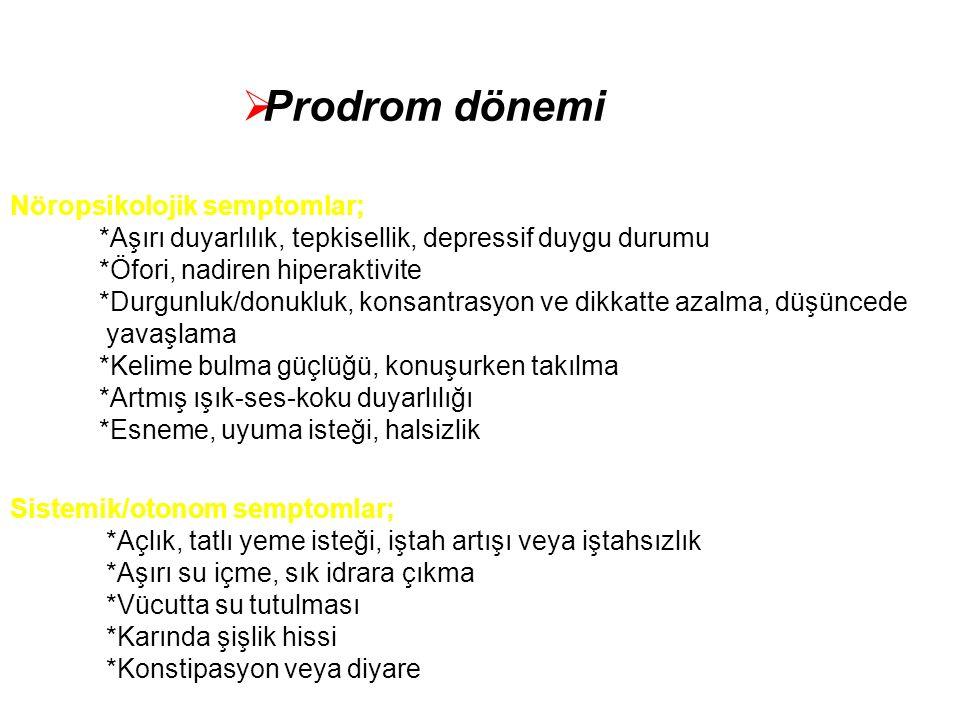 Prodrom dönemi Nöropsikolojik semptomlar;