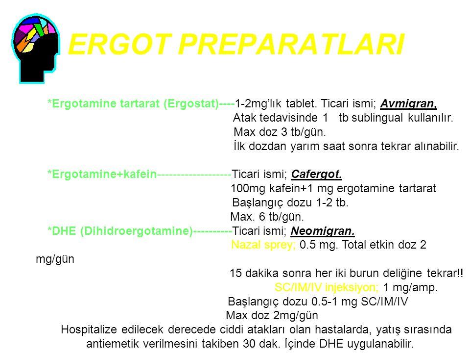 ERGOT PREPARATLARI *Ergotamine tartarat (Ergostat)----1-2mg'lık tablet. Ticari ismi; Avmigran, Atak tedavisinde 1 tb sublingual kullanılır.
