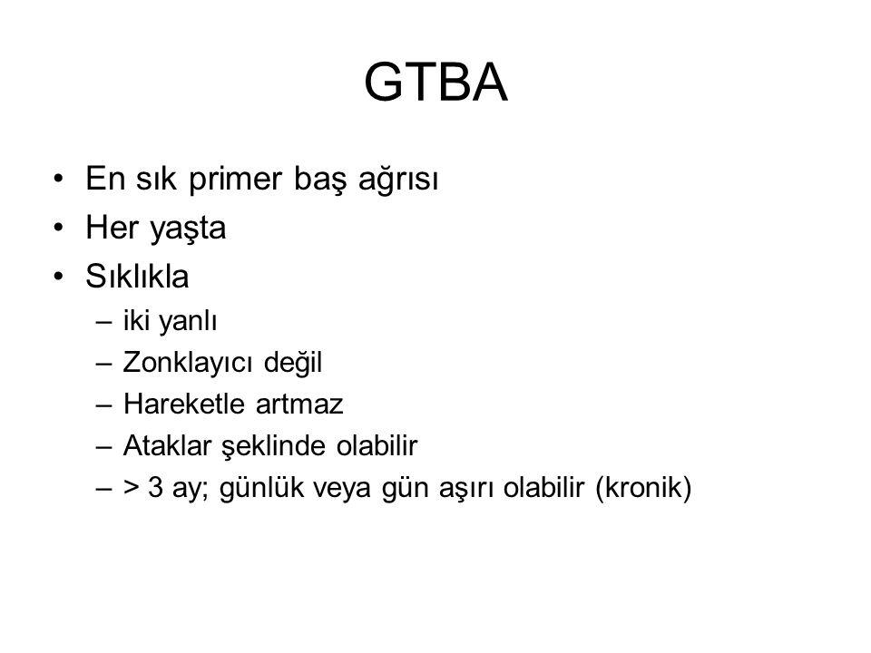 GTBA En sık primer baş ağrısı Her yaşta Sıklıkla iki yanlı