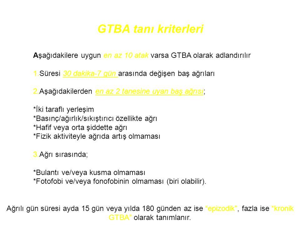 GTBA tanı kriterleri Aşağıdakilere uygun en az 10 atak varsa GTBA olarak adlandırılır. 1.Süresi 30 dakika-7 gün arasında değişen baş ağrıları.