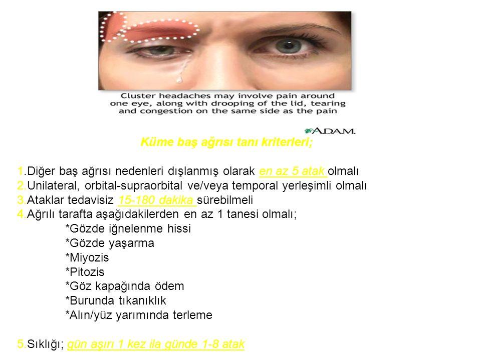 Küme baş ağrısı tanı kriterleri;