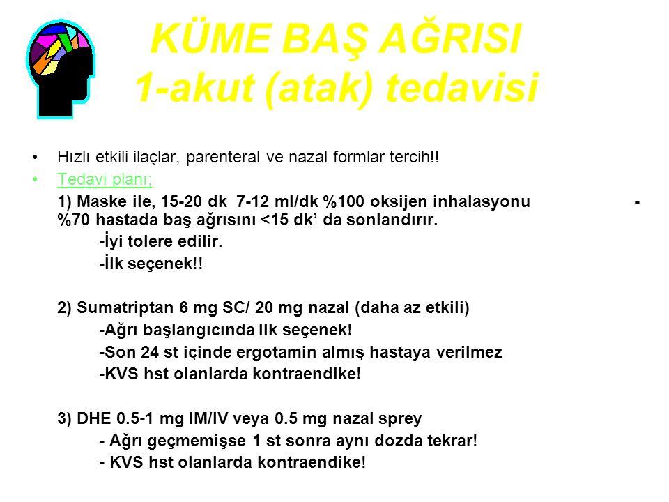 KÜME BAŞ AĞRISI 1-akut (atak) tedavisi