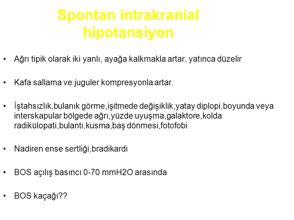 Spontan intrakranial hipotansiyon
