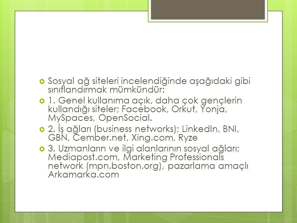 Sosyal ağ siteleri incelendiğinde aşağıdaki gibi sınıflandırmak mümkündür: