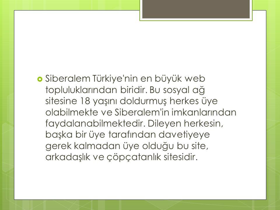 Siberalem Türkiye nin en büyük web topluluklarından biridir