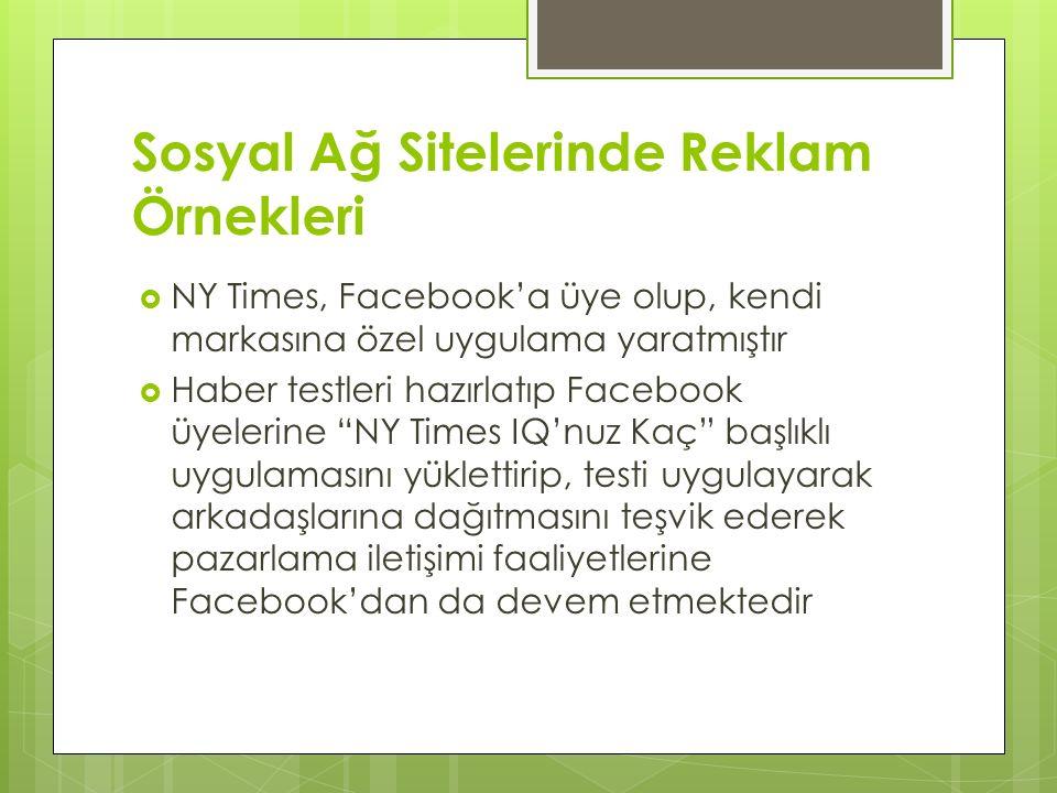 Sosyal Ağ Sitelerinde Reklam Örnekleri
