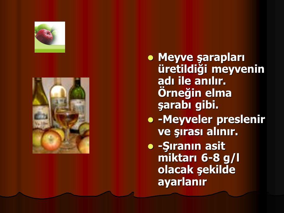 Meyve şarapları üretildiği meyvenin adı ile anılır