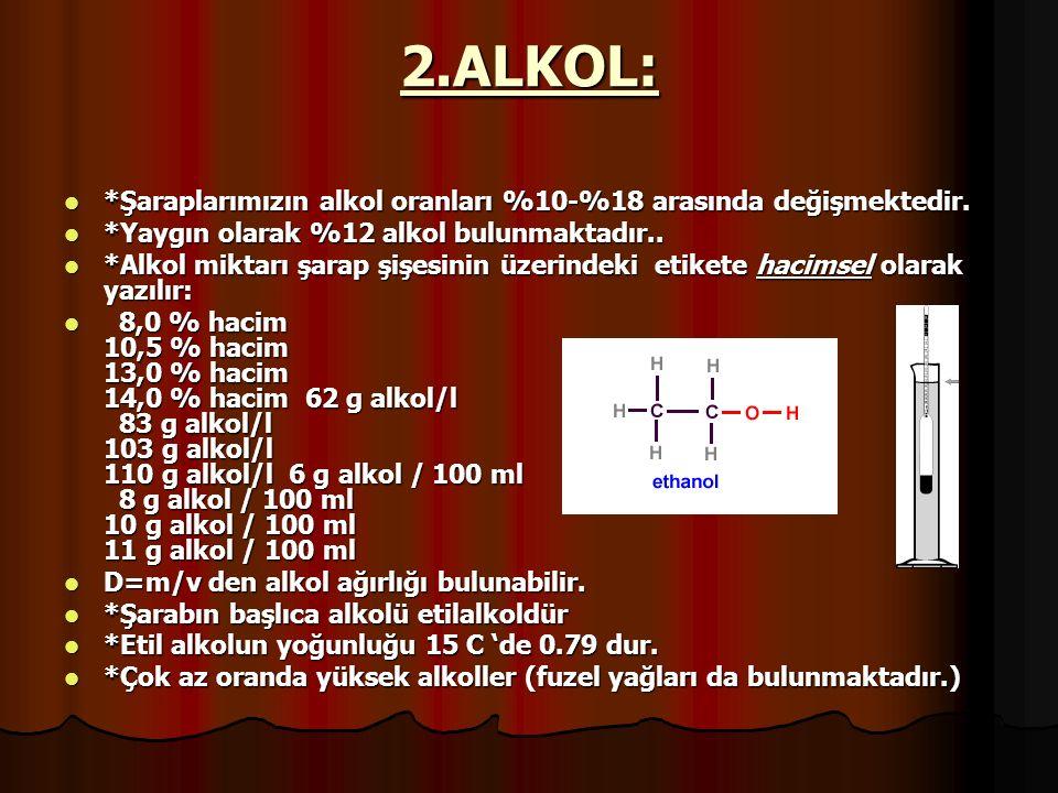 2.ALKOL: *Şaraplarımızın alkol oranları %10-%18 arasında değişmektedir. *Yaygın olarak %12 alkol bulunmaktadır..