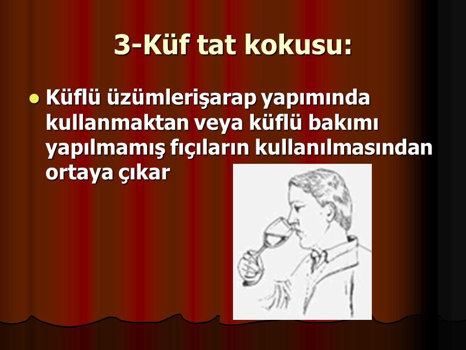 3-Küf tat kokusu: Küflü üzümlerişarap yapımında kullanmaktan veya küflü bakımı yapılmamış fıçıların kullanılmasından ortaya çıkar.
