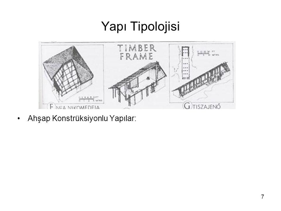 Yapı Tipolojisi Ahşap Konstrüksiyonlu Yapılar: