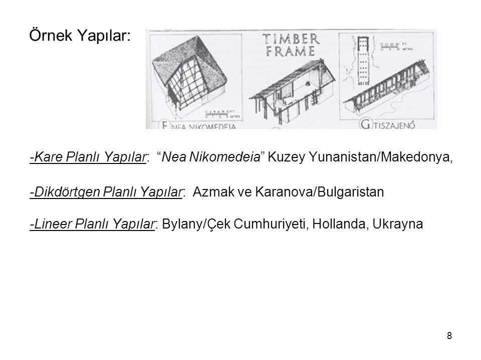 Örnek Yapılar: -Kare Planlı Yapılar: Nea Nikomedeia Kuzey Yunanistan/Makedonya, -Dikdörtgen Planlı Yapılar: Azmak ve Karanova/Bulgaristan.