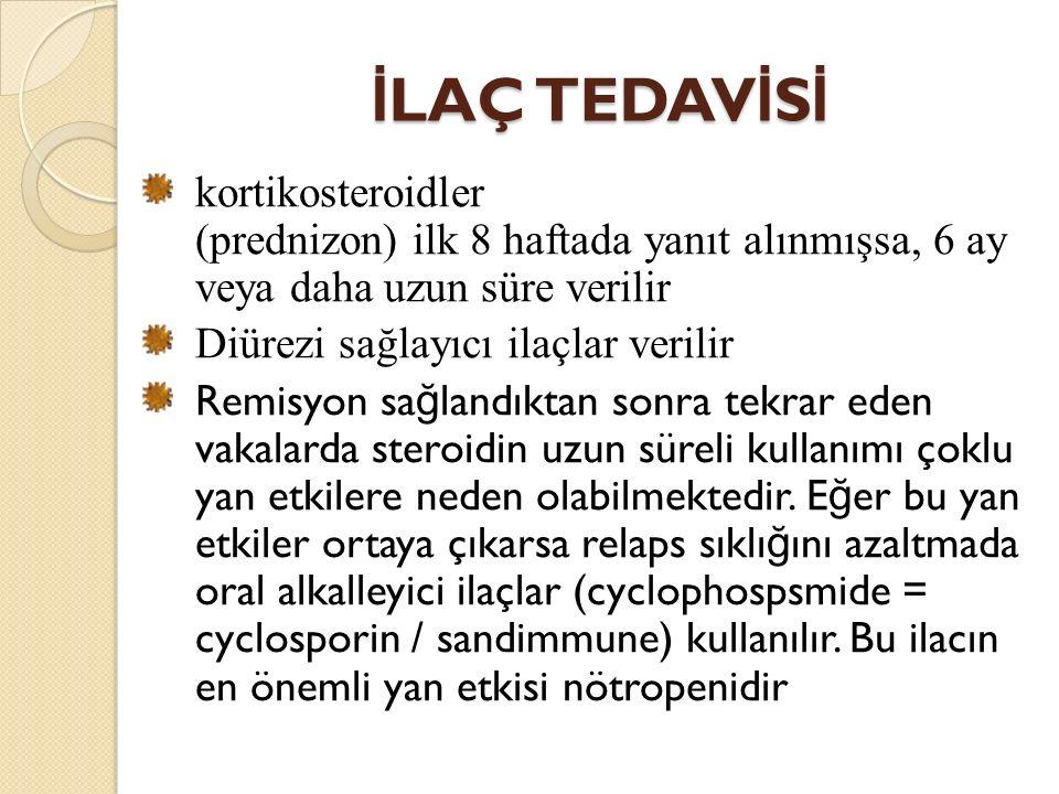İLAÇ TEDAVİSİ kortikosteroidler (prednizon) ilk 8 haftada yanıt alınmışsa, 6 ay veya daha uzun süre verilir.