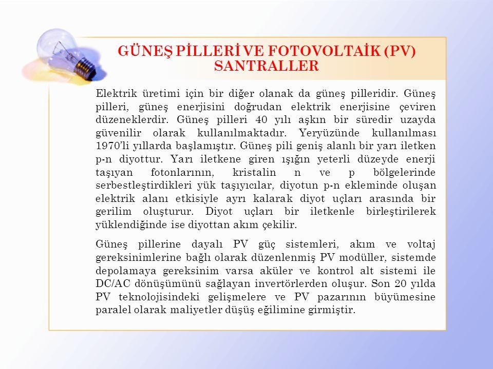 GÜNEŞ PİLLERİ VE FOTOVOLTAİK (PV) SANTRALLER
