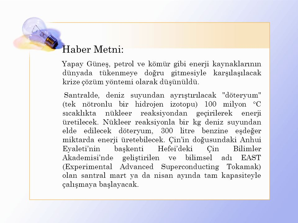 Haber Metni: