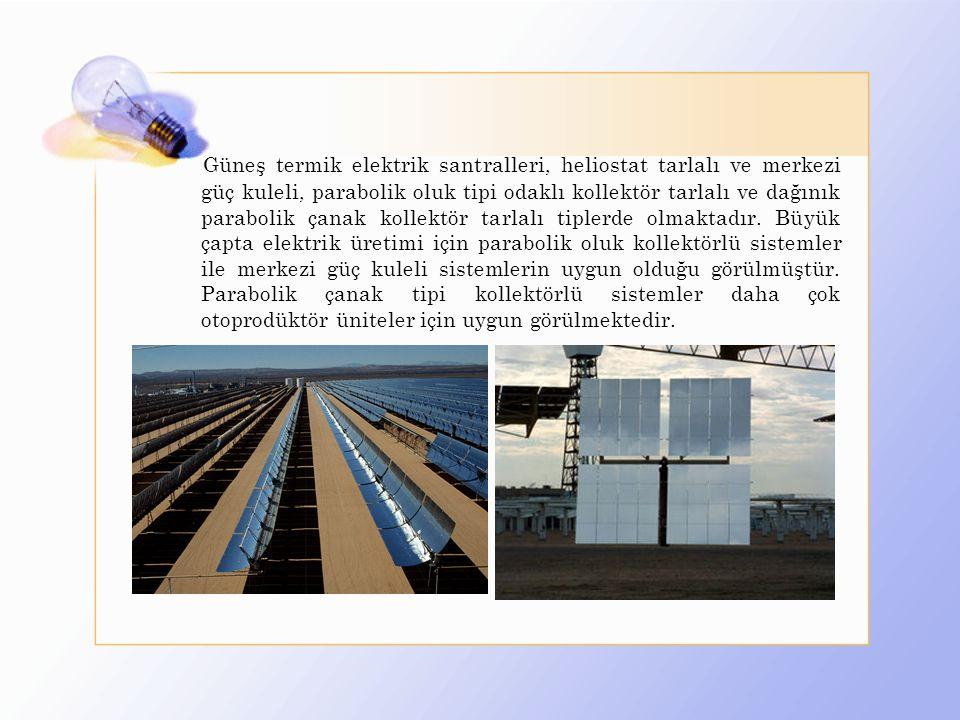 Güneş termik elektrik santralleri, heliostat tarlalı ve merkezi güç kuleli, parabolik oluk tipi odaklı kollektör tarlalı ve dağınık parabolik çanak kollektör tarlalı tiplerde olmaktadır.