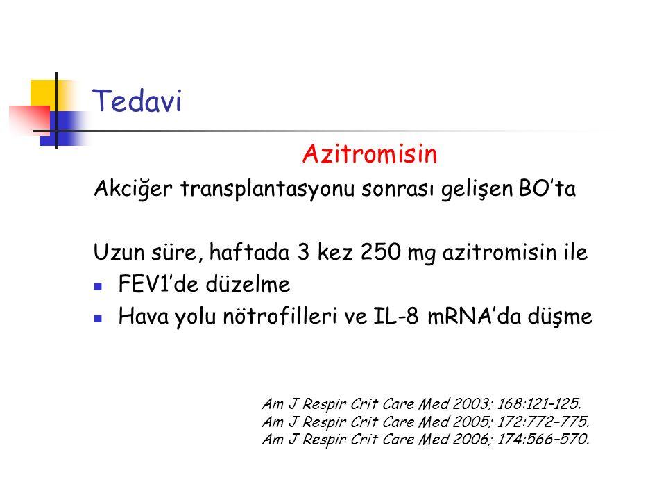 Tedavi Azitromisin Akciğer transplantasyonu sonrası gelişen BO'ta