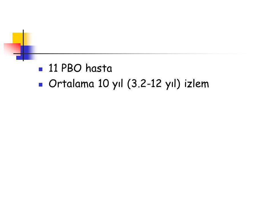11 PBO hasta Ortalama 10 yıl (3.2-12 yıl) izlem