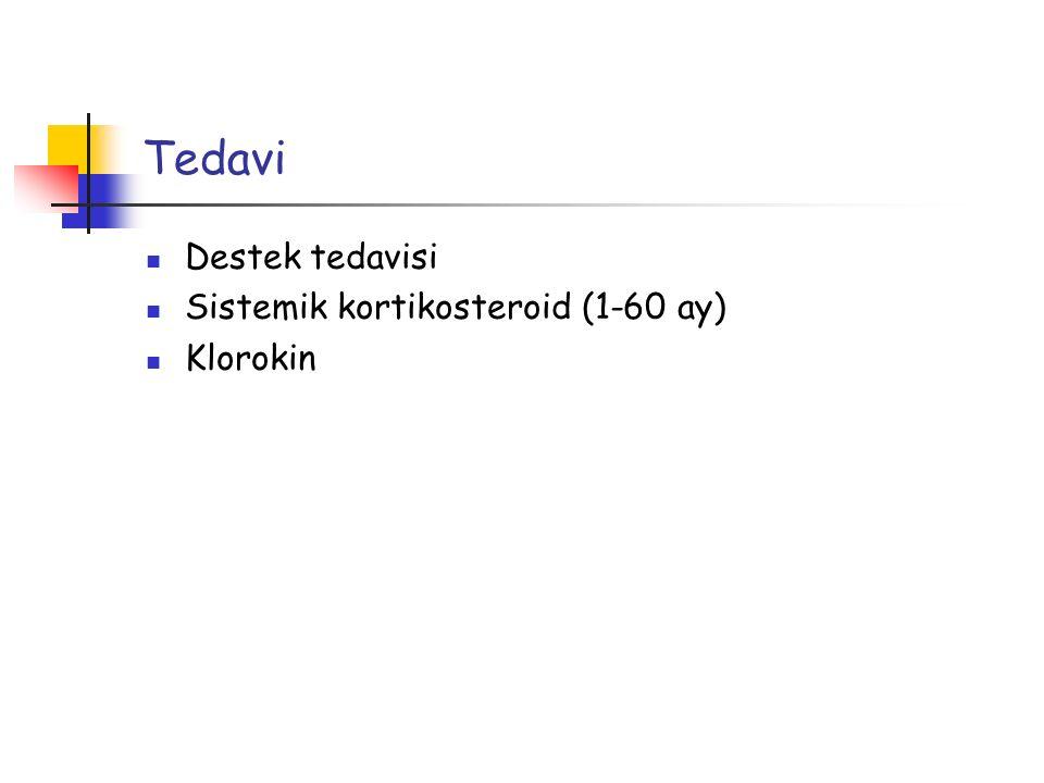 Tedavi Destek tedavisi Sistemik kortikosteroid (1-60 ay) Klorokin