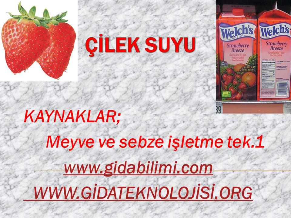 ÇİLEK SUYU KAYNAKLAR; Meyve ve sebze işletme tek.1 www.gidabilimi.com
