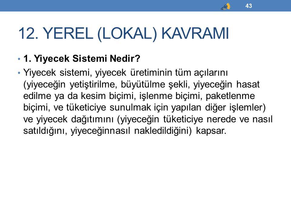12. YEREL (LOKAL) KAVRAMI 1. Yiyecek Sistemi Nedir