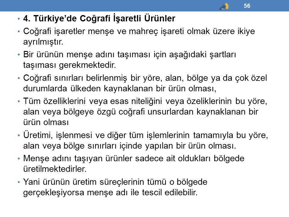 4. Türkiye'de Coğrafi İşaretli Ürünler