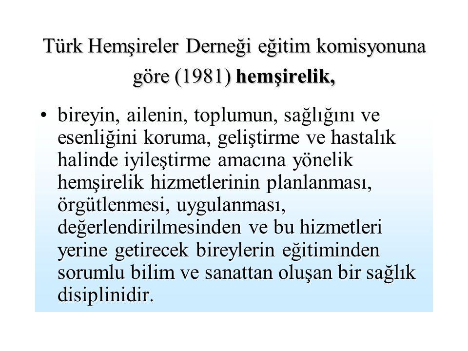 Türk Hemşireler Derneği eğitim komisyonuna göre (1981) hemşirelik,