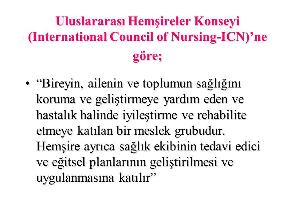 Uluslararası Hemşireler Konseyi (International Council of Nursing-ICN)'ne göre;