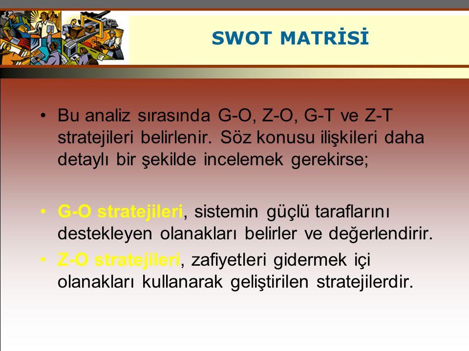 SWOT MATRİSİ Bu analiz sırasında G-O, Z-O, G-T ve Z-T stratejileri belirlenir. Söz konusu ilişkileri daha detaylı bir şekilde incelemek gerekirse;