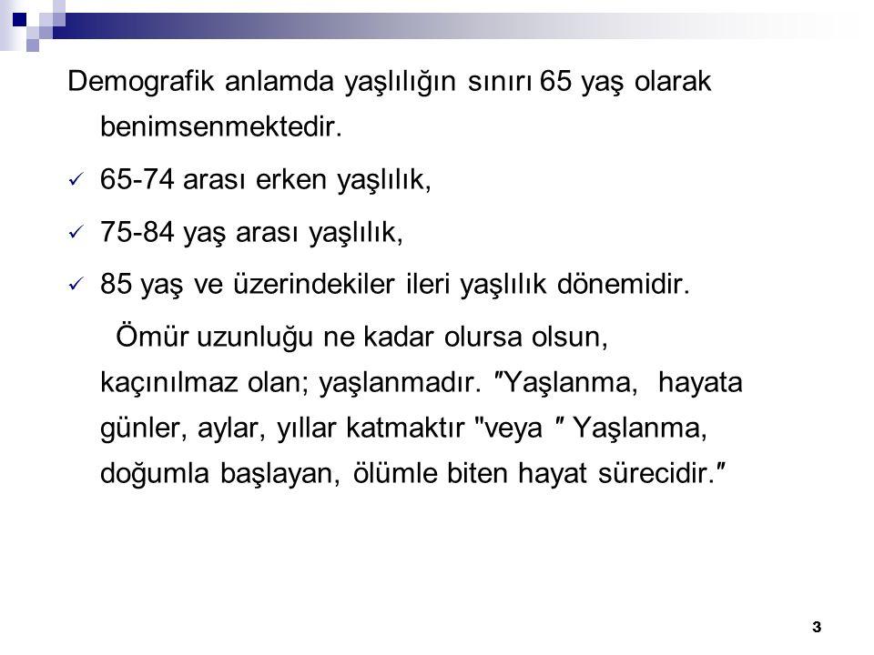 Demografik anlamda yaşlılığın sınırı 65 yaş olarak benimsenmektedir.