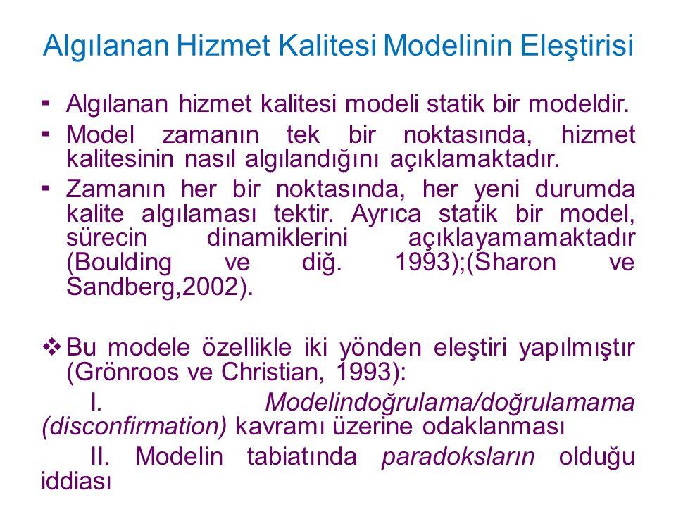 Algılanan Hizmet Kalitesi Modelinin Eleştirisi
