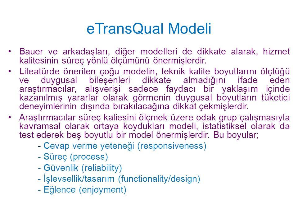 eTransQual Modeli Bauer ve arkadaşları, diğer modelleri de dikkate alarak, hizmet kalitesinin süreç yönlü ölçümünü önermişlerdir.