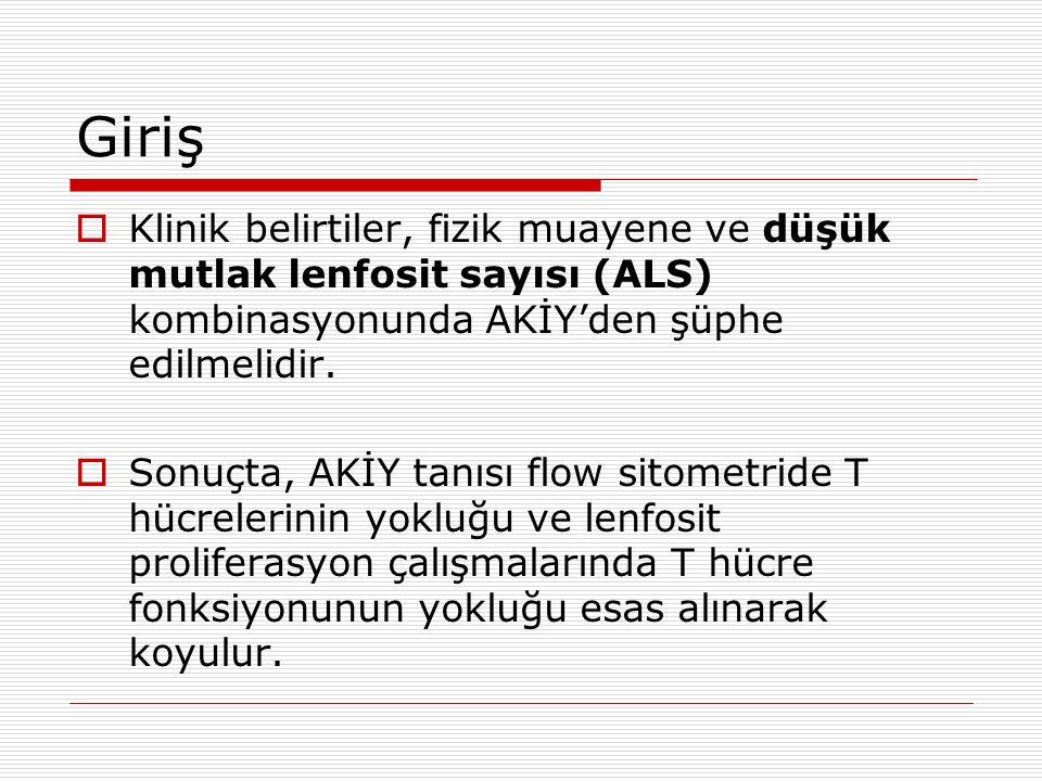 Giriş Klinik belirtiler, fizik muayene ve düşük mutlak lenfosit sayısı (ALS) kombinasyonunda AKİY'den şüphe edilmelidir.
