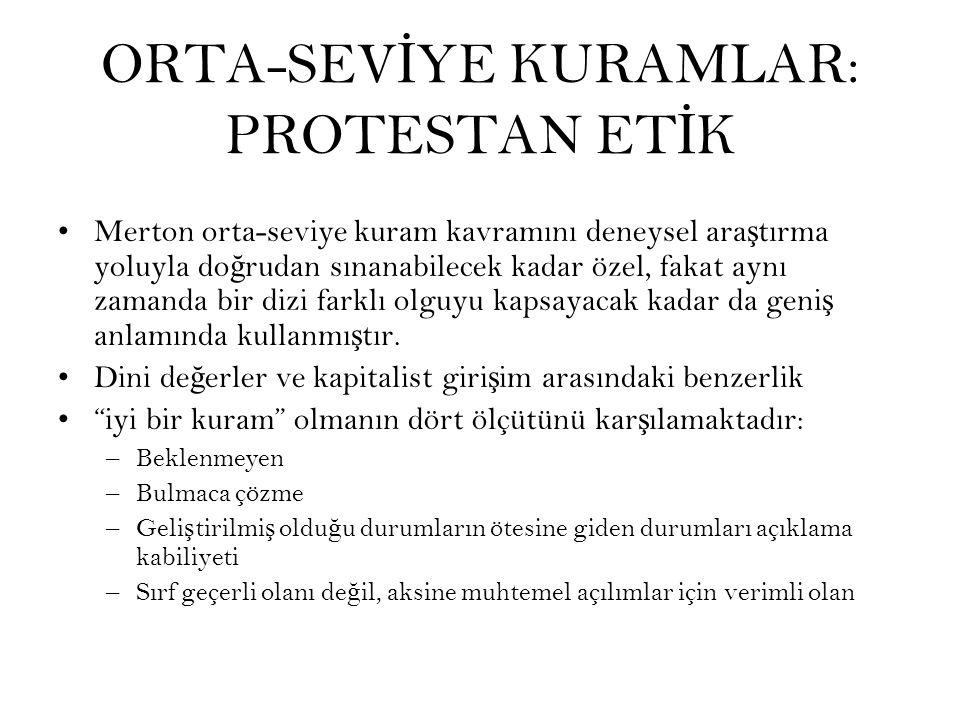 ORTA-SEVİYE KURAMLAR: PROTESTAN ETİK