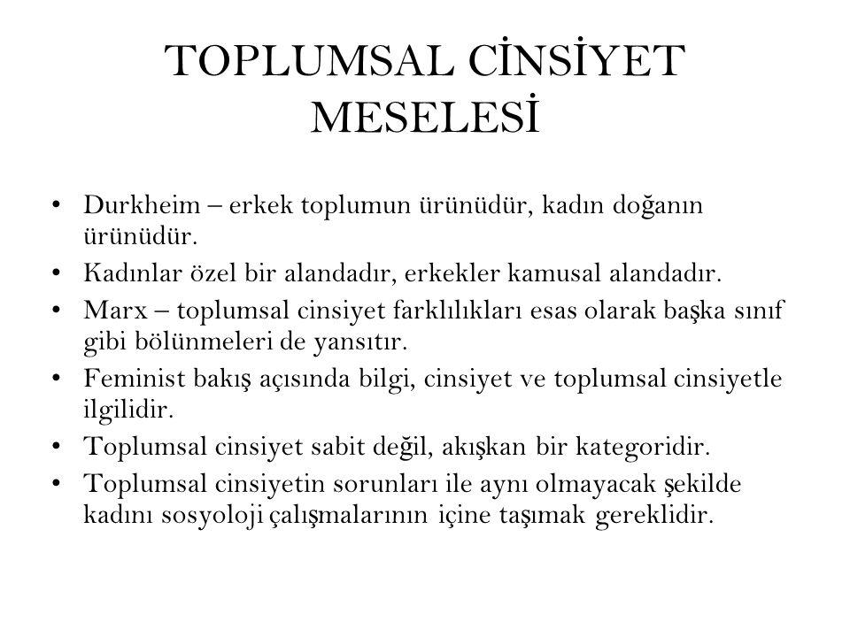 TOPLUMSAL CİNSİYET MESELESİ