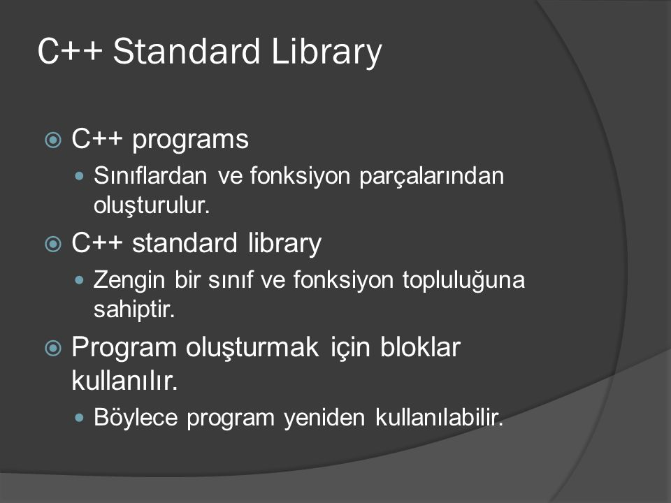 C++ Standard Library C++ programs C++ standard library