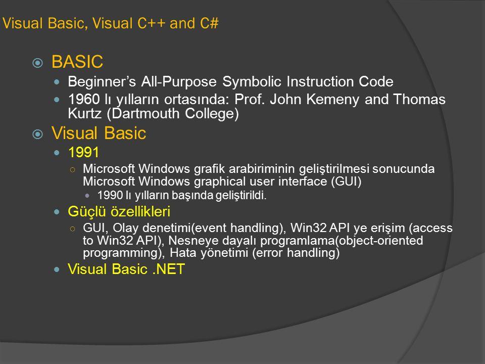 Visual Basic, Visual C++ and C#