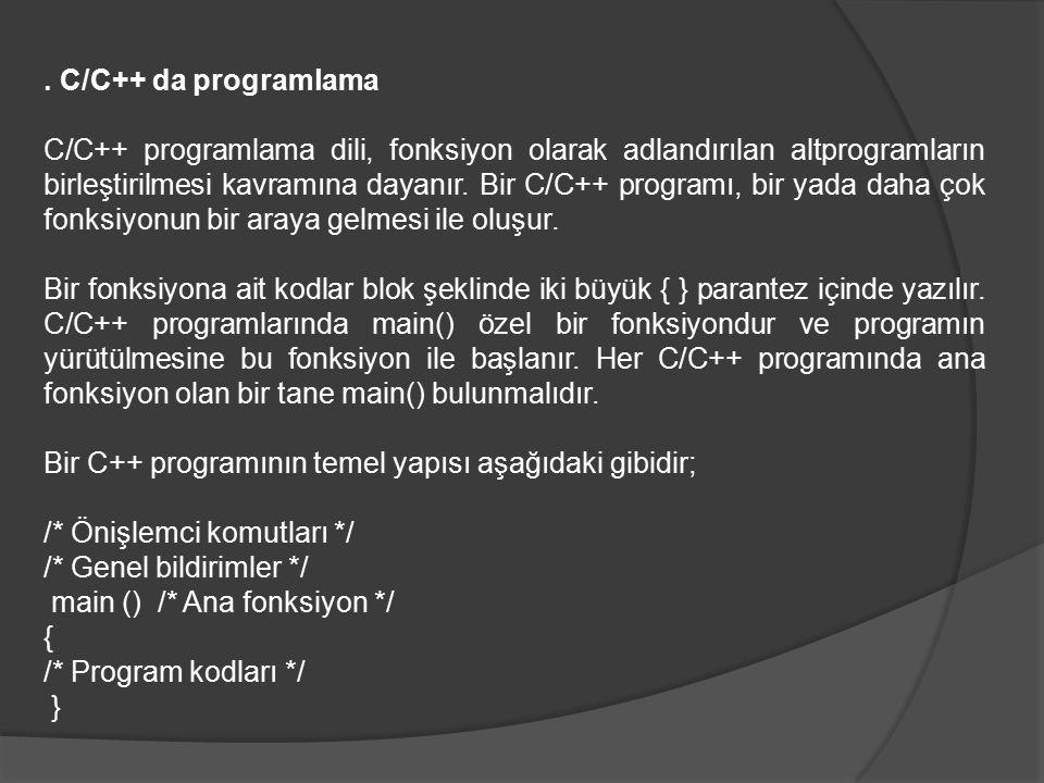 . C/C++ da programlama