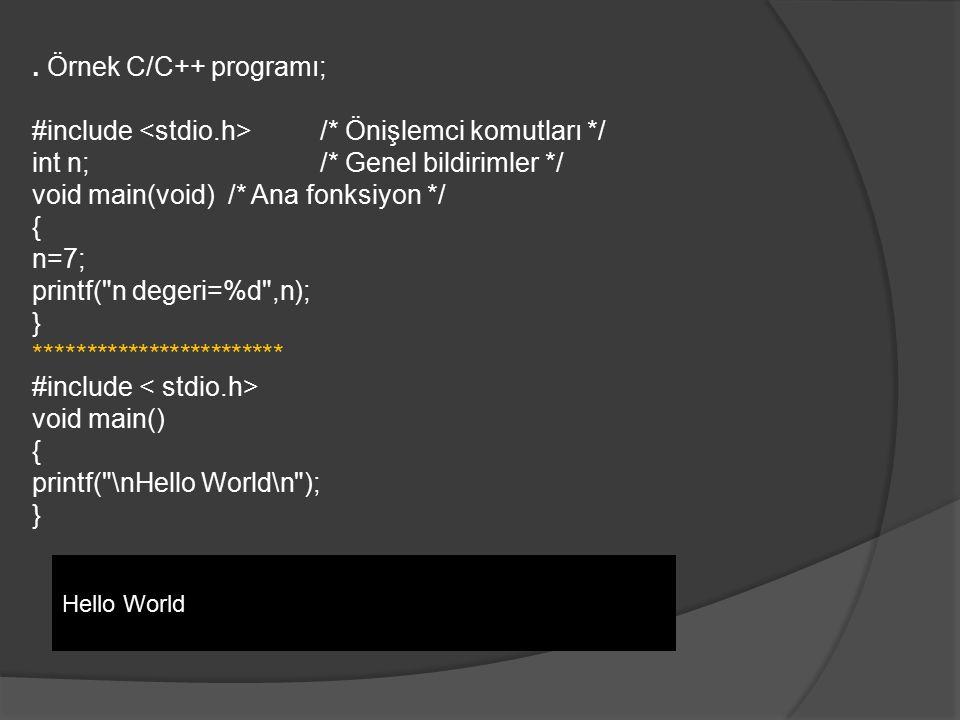#include <stdio.h> /* Önişlemci komutları */