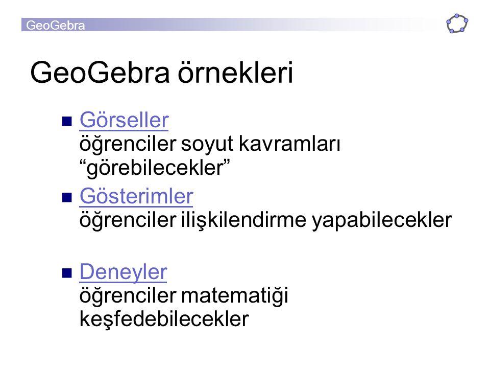 GeoGebra örnekleri Görseller öğrenciler soyut kavramları görebilecekler Gösterimler öğrenciler ilişkilendirme yapabilecekler.