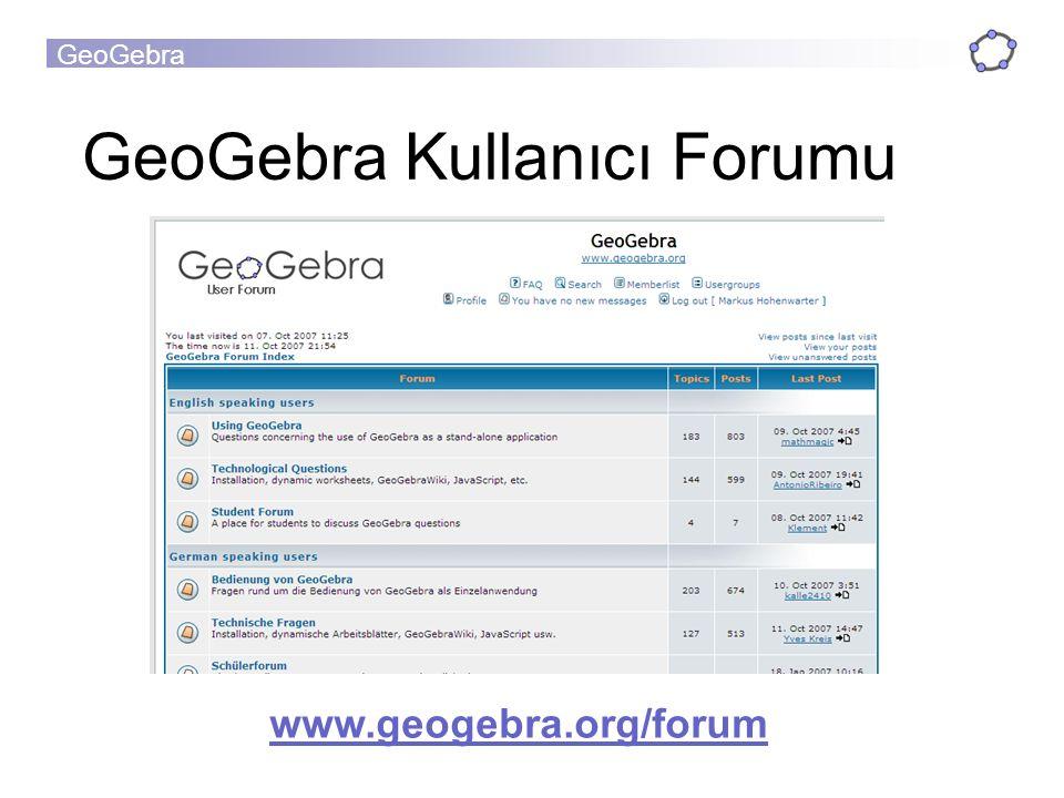 GeoGebra Kullanıcı Forumu