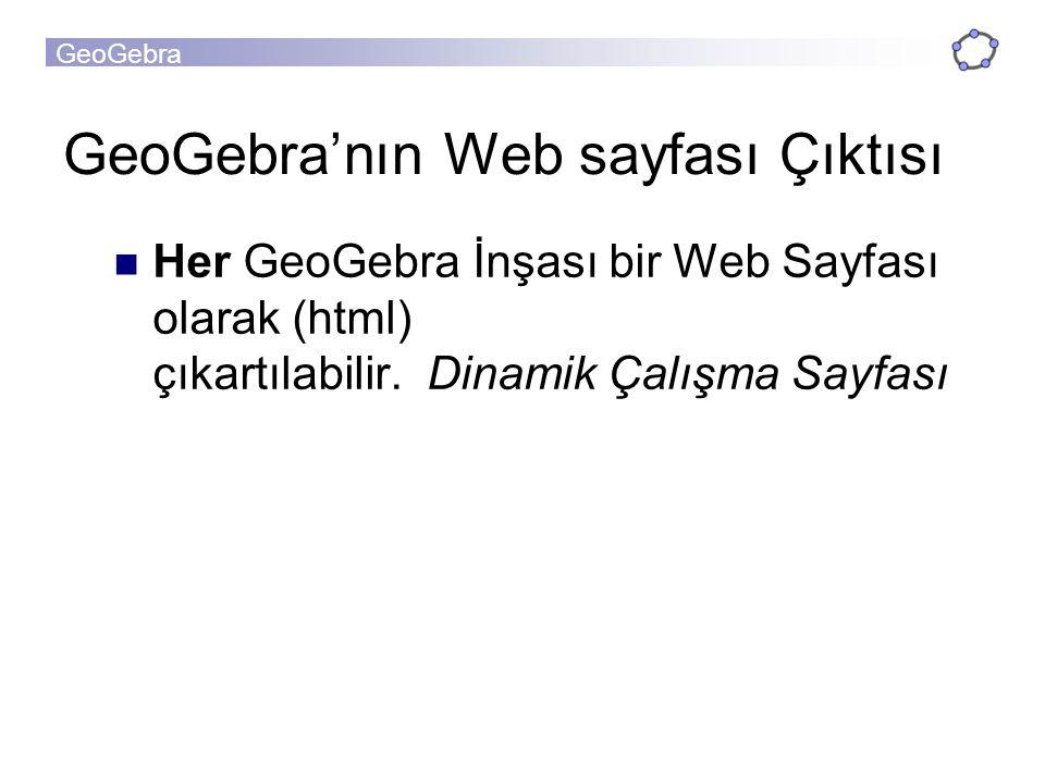 GeoGebra'nın Web sayfası Çıktısı