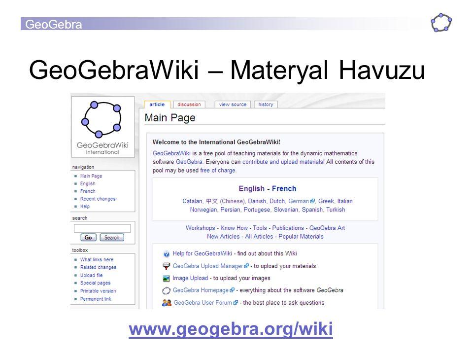 GeoGebraWiki – Materyal Havuzu