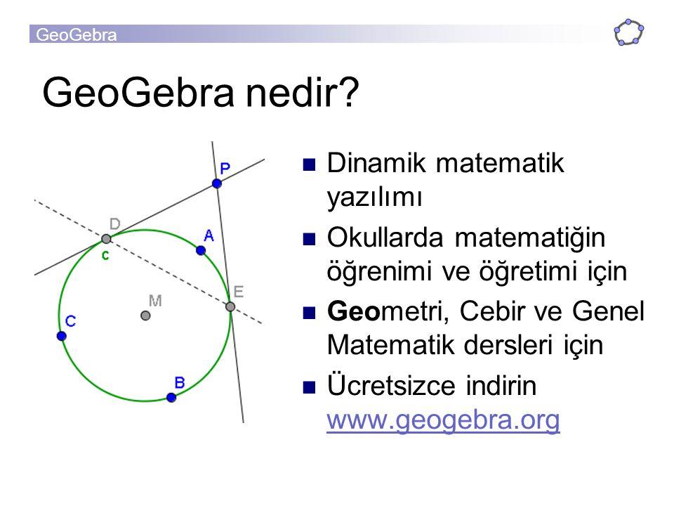 GeoGebra nedir Dinamik matematik yazılımı